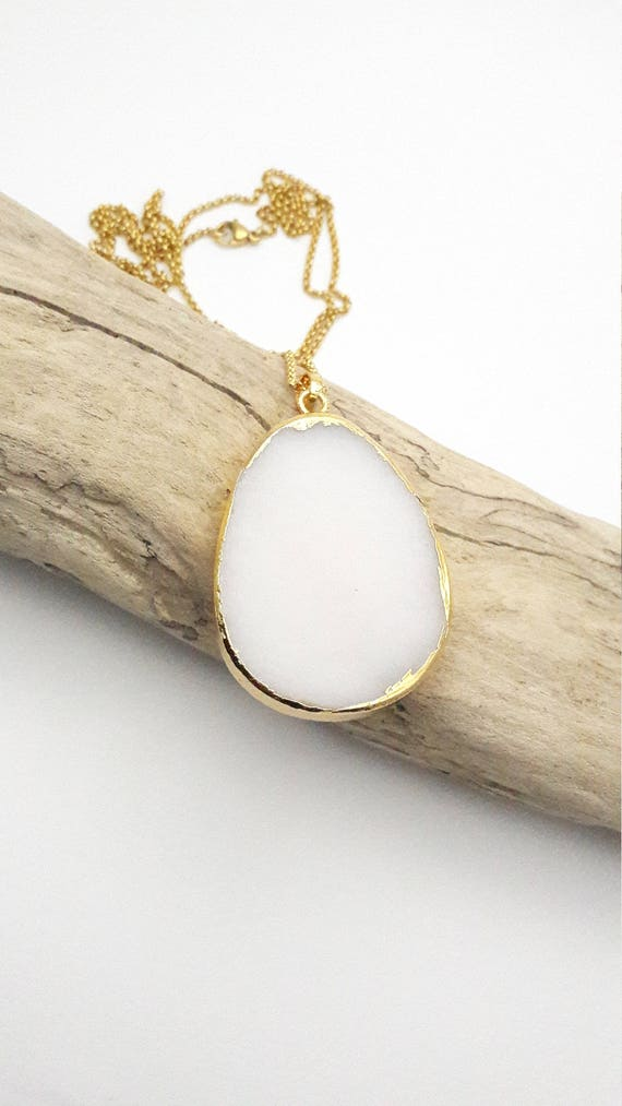 White Jade Teardrop gold dipped long necklace//Hypoallergenic chunky drop gemstone boho natural pendant gold stainless steel chain necklace