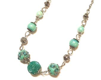 Necklace. Turquoise and Silver. Bulky.