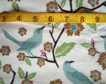 Cotton Flannel BTY - Birds & Flowers on Branches on Cream Background - for Quilting Sewing Crafts