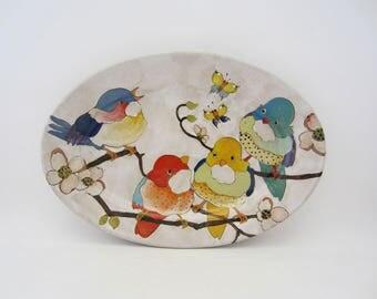 Flowers Birds and Berries Medium Oval Platter