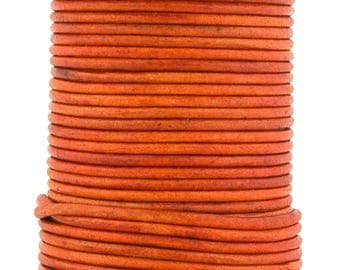 Xsotica® Orange Natural Dye Round Leather Cord 2mm 100 meters (109 yards)