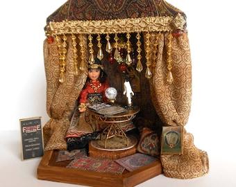 Dollhouse Doll, Fortune Teller Doll, Gypsy Doll, Fortune Teller Tent, Lighted Tent, Art Doll, Diorama, 1/12th Scale, OOAK Handmade