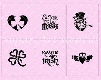 St-Patrick's day stencils Irish shamrock lucky set of 6 designs  Sl56