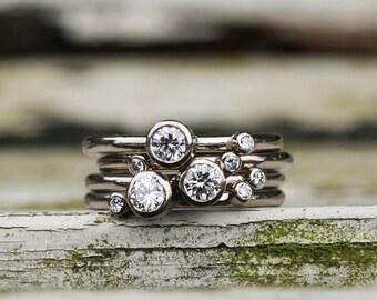 Diamond stacking rings, 18ct white gold diamond rings