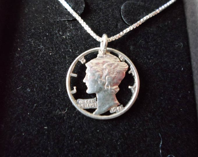 Mercury Dime Necklace w/ sterling silver chain