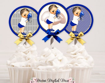 Football Cupcake Topper Circles | Royal Blue White Gold |  Light Tone Vintage Baby Boy | Digital Instant Download