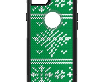 OtterBox Commuter for Apple iPhone 5S SE 5C 6 6S 7 8 PLUS X 10 - Custom Monogram - Any Colors - Green White Ugly Christmas Sweater Gift Mom