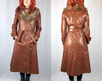 Vintage 1970's Fur Trimmed Leather Jacket Small