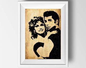 Grease poster print, Grease Movie Art Print