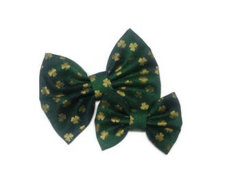Gold St. Patrick's Day Bow | Fabric Bow | Handmade Hair Bow | Hair Clip | Headband