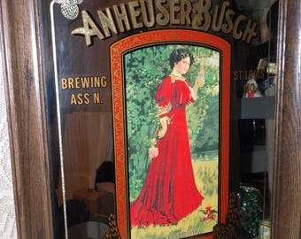 "Vintage Anheuser-Busch Brewing Co. Victorian Lady Picture Mirror ""Budweiser Girl"" Bar Man Cave Wood Frame"
