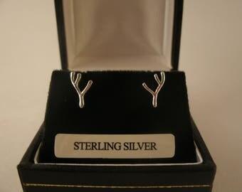 Sterling Silver Antler Earrings Irish Ear Studs Jewellery