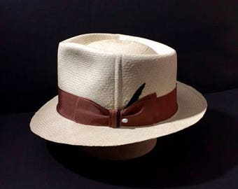 Panama Hat New Custom Made Stingy Brim Straw Fedora Size 7 1/8