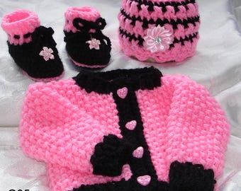 Hot pink hand knit,baby girl sweater set , 0-3 months,coming home outfit,beautiful present,original design by kidsknits1.