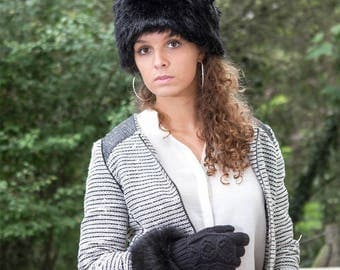 Black faux fur shag fur hat