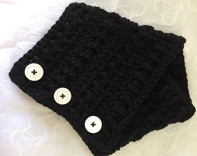 Crocheted Wrap-Winter Scarf-Women's Shawls-Black Scarf-