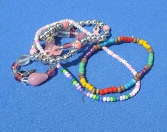 Lot Of Assorted Retro Beaded Bracelets Restring Repurpose