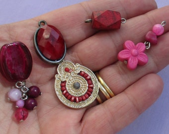 Lot Of Salvaged Red & Pink Pendants Dangles