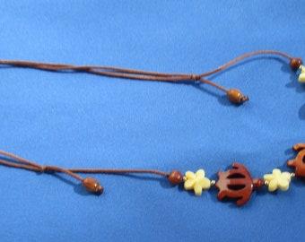 Retro Turtles Flowers Drawstring Rope Necklace