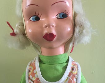 Vintage 60s/70s Collectable Plastic Face Ragdoll
