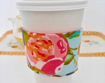 Coffee Cozy, Coffee sleeve, Coffee Cup Cozy, Pink Rose Coffee Cozy, Geometric Coffee Cup Cozies, Fabric Coffee Cozy,Teal Floral Coffee Cozy,
