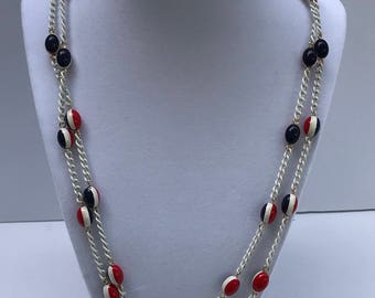 Vintage Red white and Blue, white chain necklace.
