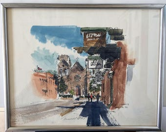 "Russell Steel Original Watercolor, ""St. Francis Santa Fe"" Framed Art"