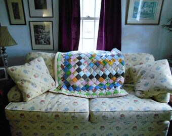 Homemade Boston Commons Quilt.  From Georgia.  Vivid Colors and Patterns.   77 x 66