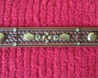 Handmade vintage reproduction 1950 real glass jeweled leather cowboy belt