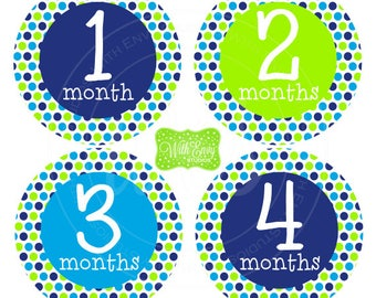 Polka Dot Baby Monthly Stickers - Baby Bodysuit Stickers - Monthly Baby Stickers - Boy Monthly Stickers - Blue and Green - 056