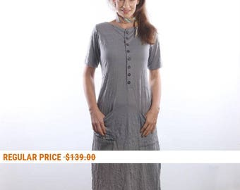 Womens casual summer dress , boho dress, Wrinkled cotton jersey dress, casual dresses, Loose Dress