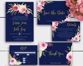 Navy Personalized Wedding Invitation Set, Printable Watercolor Wedding Invites, Gold Wedding, Gold Glitter, Navy Blue, Personalized Invite