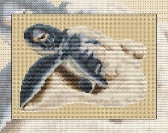 Cross stitch kit First Journey, green sea turtle baby