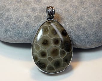 Petoskey Stone Custom Bezel Setting Pendant