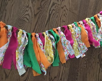 Fabric Banner, Fabric Strip Banner, Neon Banner, Cake Smash Prop, Bright Colors Banner, Pink Orange Green Yellow Garland