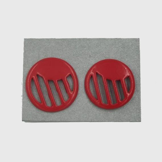 80's Large Round Plastic Statement Earrings - Big Red Earrings Vintage Costume Jewelry Plastic - Funky FUN Costume Jewelry Eighties Retro
