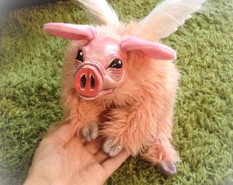 Flying pig plush art doll, winged piggy, stuffed animal