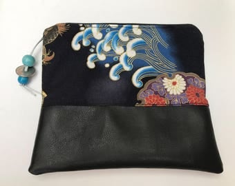 Handmade vintage Japanese  fabic zip pouch