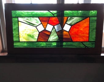 Handmade stained glass framed window hanging