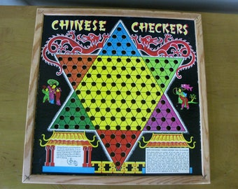 Vintage Chinese Checkers game board -pressboard -cardboard- Transogram Co N.Y.C. - checker board - wood frame checker board