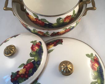 Set of 2 Vintage Lincoware Enamelware Pans with Lids, Brass Handles and Lid Knob, Fruit Design on Sides and Lids, No Fading and Very Clean