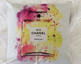 "Watercolor Fashion Inspired Art Pop perfume purple pink yellow l ogo print design Inspired pillow  case cover linen 20""x20"" Chanel"
