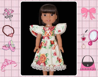 14 / 14.5 inch doll clothes / garden party dress / Mine to Love 14 / Wellie Wishers / American Girl / Melissa and Doug