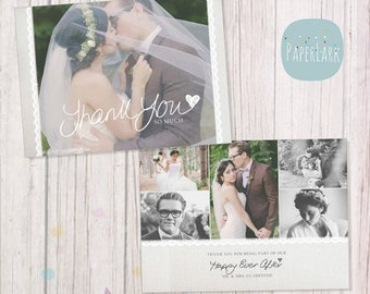 ON SALE Wedding Thank You Card - Photoshop template - AW020 - Instant Download