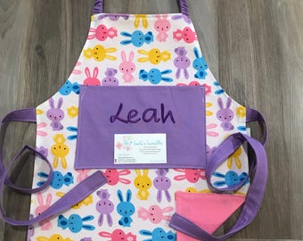 Toddler Easter Bunny Apron, personalized