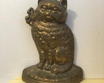Cat Doorstop Brass Kitten VINTAGE