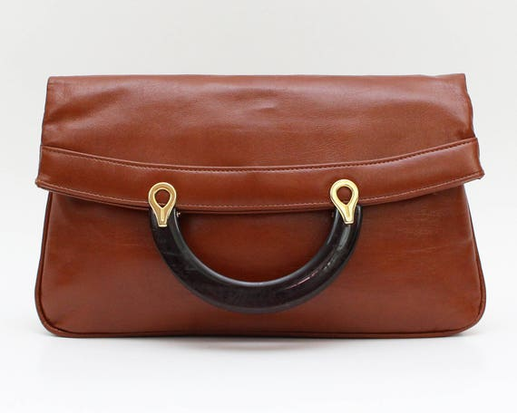 Vintage 1970s Tan Leatherette Oversized Clutch