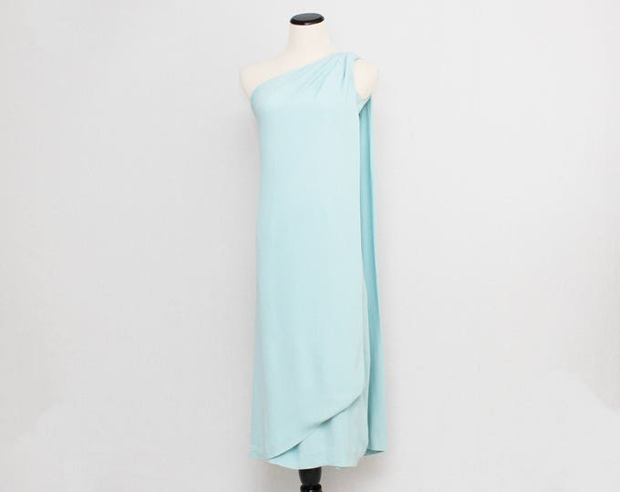 60s Pale Blue One Shoulder Dress - Size Extra Small - Vintage 1960s Midi Party Dress