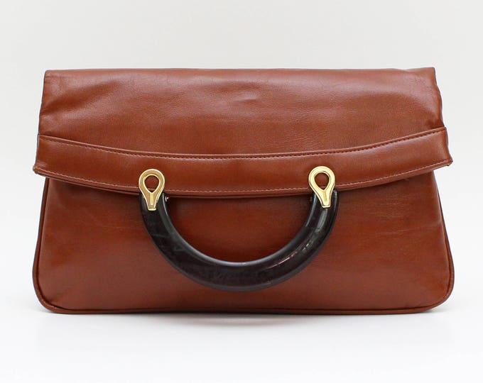 Vintage 1970s Tan Leatherette Oversized Clutch