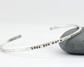 Love You More Sterling Silver Cuff -Couples Bracelet - Personalized Bracelet -Infinity Love -Name -Date -Coordinates - Proverbs